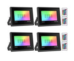 Onforu 4 Pezzi 20W Faretto LED RGB Colori, Proiettore LED Colorato con Telecomando, IP66 Impermeabile Esterno e Interno Faro RGB per Feste Giardino Cortile Attività