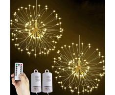 Natalizie Luci LED Fuochi dArtificio Luci Fatate, 120 LED Scintillio Luci Decorative 8 Modalità Batteria Telecomando per Feste di Natale Interne ed Esterne(Bianco Caldo, 2 pezzi)