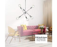 6 Luci-Moderno Sputnik Lampadario Illuminazione A Sospensione Lampadario in Ottone Spazzolato A metà Secolo Oro Plafoniera Luce per Corridoio Bar Cucina Sala da Pranzo,Silver