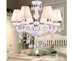 Luxury Crystal soggiorno Lampada pendente, con pendente a forma di sale da pranzo, camere da letto, sale Girl's Princess-Lampadario Europeo 6 lights