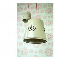 lief! LF12013 - Lampadario in stile casa di campagna, paralume in metallo con fiori, diametro 35 cm