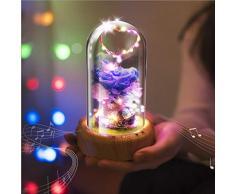 XIAOXINYUAN Musica Micro Paesaggio Fiore USB Ricaricabile Sonno Luce Notturna Protezione degli Occhi LED Comodino Lampada da Tavolo per La Casa Viola