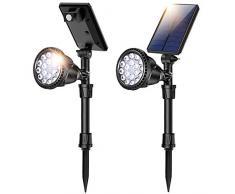 JSOT Luci Solari Esterno, 18 LED Lampade Solari Giardino con Sensore di Movimento 4 Modalità di Illuminazione Luci di Sicurezza Impermeabili Faretto per Parete Strade - Luce Bianca Fredda, 2 Pezzi