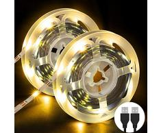 Striscia LED, OMERIL 6M (2x3m) Strisce LED (180 LEDs) con Luce Gialla Calda, Plug n Play, USB alimentata LED Striscia Adatte a Decorazioni, Guardaroba, Salotto, TV, Cucina, Bar, Camera da Letto ecc