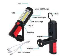 LIVEHITOP Magnetico Torcia Lampade di Ispezione, Ricaricabile COB + LED Luce di Lavoro con Forte Magnete per Riparazione Auto, Emergenza, Campeggio