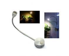 ROSENICE 360 gradi flessibile muro di LED luce LED lettura luce lampada da comodino AC 85-265V 3W (bianco caldo)