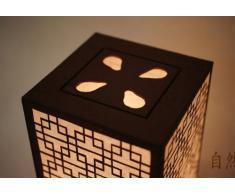 Lampada In Carta Di Riso o Gelso Lavorata a Mano Paralume Con Motivo Finestra Coreana a Reticolo Arte Deco Arte Nouveau o Lanterna Marrone Lampada Da Tavolo Particolare In Stile Orientale Per Camera Da Letto