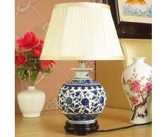 Lampada da tavolo in ceramica da camera da letto moderna cinese da comodino Jingdezhen, lampada da soggiorno in porcellana bianca e blu dipinta a mano