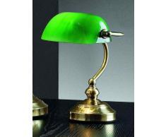 Lampada Da Tavolo In Ottone Lucido Con Vetro Verde - Misure H. 25 Cm - 1Xe14 Max. 40W - Lampada Modello Perenz 4806V