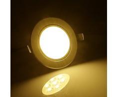 20X Faretti da incasso LED,Auralum® Set Faretti LED spot da incasso 7 W luce LED a risparmio energetico durata 25.000 ore con alette bianca calda alta luminosita Faretto ad Incasso in alluminio