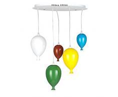 ONLI Lampada a Sospensione con Palloncini in Vetro colorato, Lampadine LED-G9 Incluse, Multicolor