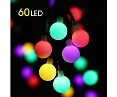 Catena Luminosa Solare, Mture 60 LED Stringa Luci Solare 10M con 8 Modalità, LED Stringa Esterno Impermeabile illuminazione Fata Perfetto per Festa, Matrimonio, Giardino, Natale, Halloween