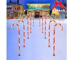 10 Pezzi Candy Cane Pathway Luci, Candy Cane Lights Decorazioni LED Yard Prato Markers Marcatori di Percorso di Caramelle allaperto Luci Natalizie per Esterni, Luci Decorazione di Natale