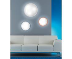 PLAFONIERA LAMPADA DA PARETE SOFFITTO TONDA 2xE27 LED DIAM.37cm IDEALE PER CAMERA CUCINA SALOTTO (MISURA S COLORE BIANCO)