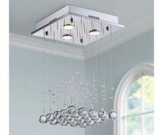 Saint Mossi® LED moderna cristallo contemporanea del lampadario a bracci di goccia della pioggia di illuminazione Flushmount apparecchio a sospensione Lampada da soffitto 3 luci_Piazza