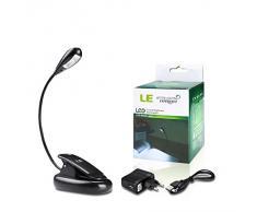 LE Luce LED Portatile con Pinza, Ricaricabile 2 Livelli Luminosità Luce Bianca diurna Cavo USB incluso Lampada per Libro Lettura Luce notturna