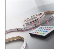 Striscia a LED rgb dimmerabile I lunghezza 5000 mm I interruttore con telecomando I illuminazione notturna da interno I luci colorate I striscia in plastica bianca I lampadine LED I 24 W I IP20