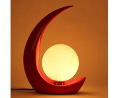 Lampada da tavolo moderna da salotto HALORI lampada in vetro satinato a base di lampade in resina, disegno a forma di luna, opere darte decorative creative (rosso)