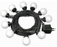 Brennenstuhl 1175292 Catena di luci per feste, (IP44) per esterni ed interni, lunghezza 10 m, con 10 lampade a LED (ciascuna con 7 LED)