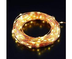 AUKEY Catene Luminose a LED Luce Striscia 100 Perline IP65 Impermeabilità Filo di Rame con Adattatore e Telecomando Utilizzabile per Giardino, Casa, Natale, Matrimonio e Festa (LT-SS2)
