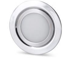 LED Slim faretto da incasso interamente in metallo, IP44, 12 V, Ferro Spazzolato – adatto in scatola da incasso per mobili ø 60 mm – tagesweiss (4000 K)