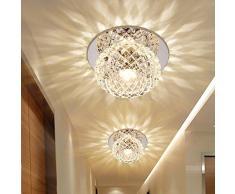 Plafoniera LED 5 W moderna, a incasso, illuminazione a incasso, lampada da soffitto e da parete, pallini, cristallo, rotonda, effetto, lampada per corridoio, anticamera Ø 12 cm moderno warmweißes