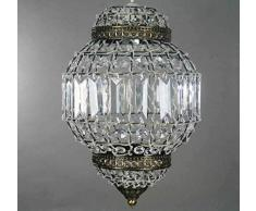 Paralume lampada da soffitto pendente acrilica trasparente ottone antico stile lanterna marocchina