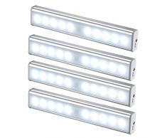 JESWELL LED del Sensore di Movimento Ricaricabile Luce con Interruttore, USB Luce Notturna Lampada da Armadio Scale Corridoio Guardaroba Cucina, 10 Luminosa LED (Confezione da 4)