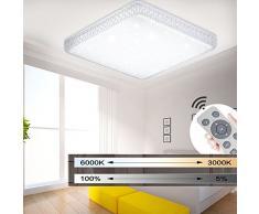 MYHOO 48W Moderno Design Lampada da soffitto a LED Lampada da soffitto a cristallo rotonda Dimmerabile[Classe di efficienza energetica A++]