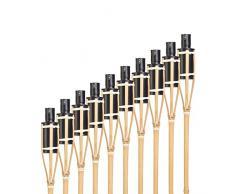 Hussala Turin Fiaccola Bambu da Giardino - Ricaricabile - Lunghezza: 60 cm [10 pz.]