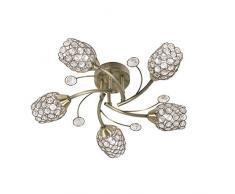 Forli Oaks Lighting Lampada da soffitto in ottone antico aspetto, con paralumi in cristallo e perle