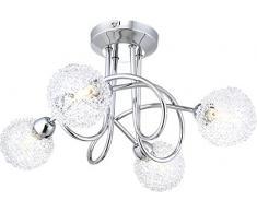 LAMPADA A SOFFITTO CROMO, LAMPADINE INCLUSE 4xG9 40W Art. 56624-4D [Cucina]