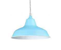 Relaxdays 10020475_54 Lampadario a Sospensione/Lampada a Sospensione per Interni, Design Industriale, in Metallo Resistente, Interno Bianco, 28 X 28 X 112 cm, Azzurro