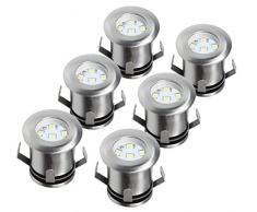 Ranex 5000.475 Set di 6 Faretti a Pavimento a LED, Acciaio Inossidabile e Vetro Spazzolato