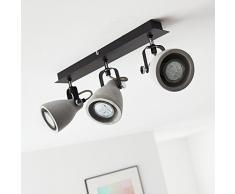 Faretti, 3 luci, 3 X GU10 max 20 W, Metallo/cemento, Nero Opaco/Grigio