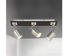 ZMH Plafoniera a LED con tre punti regolabili Spot a soffitto rotante e orientabile Faretto a soffitto Plafoniera Lampada soggiorno Plafoniera Lampada da cucina, GU10 Lampadina non inclusa