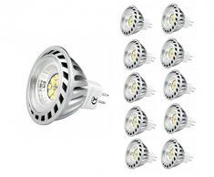 Xpeoo® 10 X 6W LED GU5.3 MR16 Lampadina Pari a Lampada ad Alta Potenza Alogena da 50W Faretto Spot 520lm Luce Neutra Bianca Non dimmerabile Naturale Bianco Fredda 4500-5000k Bulb Downlight Light 12v