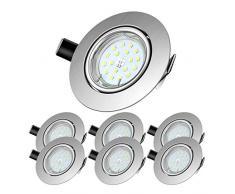 Lengjoy Faretti LED da Incasso per cartongesso,Orientabile con Porti Luce Bianco Naturale Colore 5 W Pari a 60 W 4500 K 600 LM Angolo a Fascio 120 Gradi AC 220-240V (Set da 6 4500K Rotonde Argento)