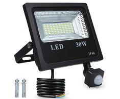 Faretto con Sensore di Movimento, Tomshine 30W 60LED Faro LED Esterno, 2400LM Bianco 6000K,IP66 Impermeabile LED Esterno,Luce del Giardino Lampada a Risparmio Energetico