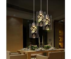 LED-Lampadario a candelabro, con cristalli, ideale per illuminazione sale da pranzo, Cafe-Lampada pendente a sospensione, lampade da incasso moderno round top