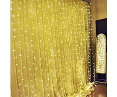SOLMORE 6M x 3M Tenda luminoso luci della tenda 600 LED IP44 String Festival decorazione di Natale / Feste/ Anniversario/ Cerimonia/ Matrimonio/ Sera Presa di 220 V Bianco caldo
