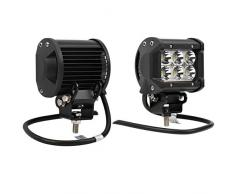 Audew Fari LED Faretti Fuoristrada Driving Spot Fari Lavoro Luce 2 Pezzi 18W 1350 Lm 6 LEDs