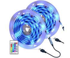 Striscia LED, OMERIL 6M 180 LED Luci Striscia RGB 5050 con Telecomando RF, 16 Colori e 4 Modalità, Impermeabile LED Striscia alimentata USB per Decorazioni, Cucina, Bar, Festa, Natale, TV ecc (2x3m)