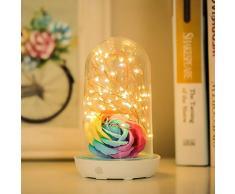 XIAOXINYUAN Lampada da Comodino A LED USB Lampada da Ricarica in Vetro Ricaricabile Lampada da Notte per Home Decor Festival Blu