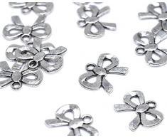 Lampadario 18.5 x 12 mm Beads anello antico illimitato metallo argento, 50 unità