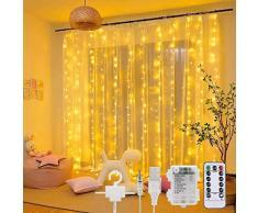 SUNACE Tenda Luminosa – 3M*3M 300 LED Tenda Luminosa Esterno 8 Modalità Impermeabile Tenda Luminosa Natale con Telecomando USB e Alimentato a Batteria Tenda Luci Led per Esterni Interni (Bianco Caldo)