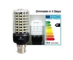 greensun LED mais lampadina LED SMD2835 lampadina Corn Light dimmerabile (100%-50%-25%) Risparmio Energetico Lampada per lampade da parete, Lampade da tavolo, lampade da soffitto 220 V – V 3000 K, 16W Kühlesweiß, B22d, 16.00 wattsW, 240.0 voltsV