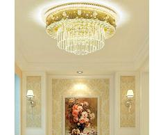 Lusso Lampada da soffitto, Plafoniera a LED in Cristallo Dimmerabile Rotonda, Gocce di Cristallo Trasparente reale, Metallo Dorato, illuminazione a soffitto da 48 W Illuminazione per soggiorno. Ø 50cm
