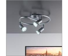 B.K.Licht 30-01-03S-T Plafoniera con faretti LED da soffitto orientabili, luce calda, include 3 lampadine GU10 da 3W, lampada moderna da soffitto per cucina, salotto, metallo color titanio, 230V IP20