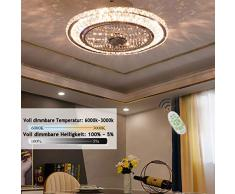 LED Ventilatori da Soffitto Silenzioso con luce, Rotondo Plafoniera Cristallo, Dimmerabili Lampada a Soffitto, Telecomando, 3 Velocità Regolabile, 1/2/4H Temporizzatore, 72W, Ø 50 * 28cm